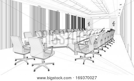 CAD planning of big business conference room with wireframe mesh (3D Rendering)
