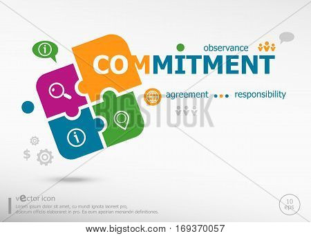 Commitment Design And Marketing Concept On Colorful Jigsaw Puzzle.