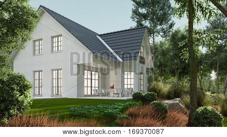 Classic single family home with green garden in nature (3D Rendering)
