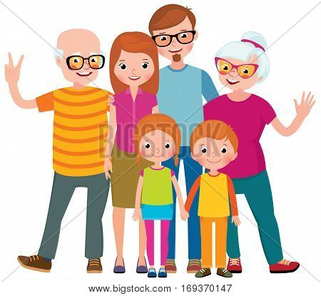 Family portrait of three generations parents children and grandchildren on white background stock vector illustration