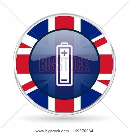 battery british design icon - round silver metallic border button with Great Britain flag