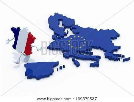 France With Arms And Legs That Runs Away From Europe