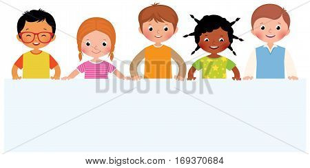 Group of smiling children hold white sheet paper stock vector illustration