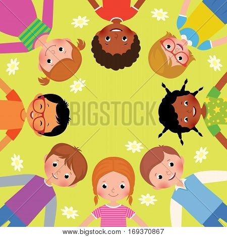 Stock Vector cartoon illustration large group of friends happy children lying on the grass