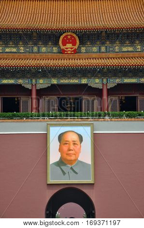 BEIJING, CHINA - JUN.23, 2012: A large portrait of Mao Zedong (Mao Tse-Tung) at Tiananmen, the center of Beijing, China.