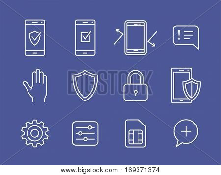 Mobile devices security. Vector icons for smartphone security app