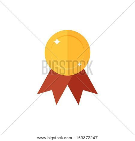 Golden medal icon.Single high quality sign of golden prize for webdesign or mobile app. Golden award vector illustration. Color symbol on white background