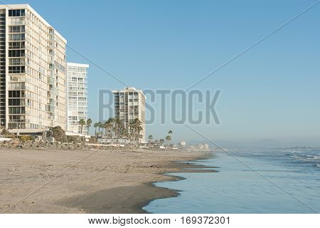 Modern highrise condos on famous Coronado beach near San Diego, CA