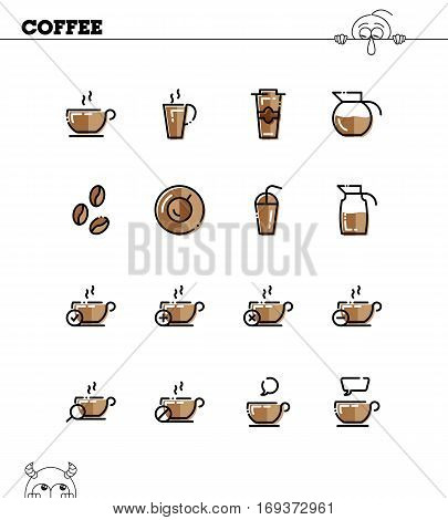Coffee Flat Icon Set Vector Photo Free Trial Bigstock
