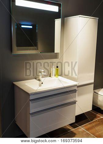 Beautiful Small Modern Trendy Design Bathroom in Luxury Home