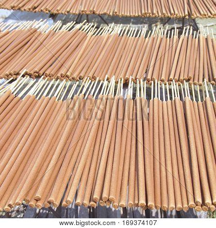 Joss sticks factory closeup in Taiwan .