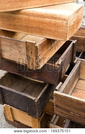 Old crate or wooden box for retro style decoration.