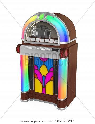 Vintage Jukebox Radio isolated on white background. 3D render