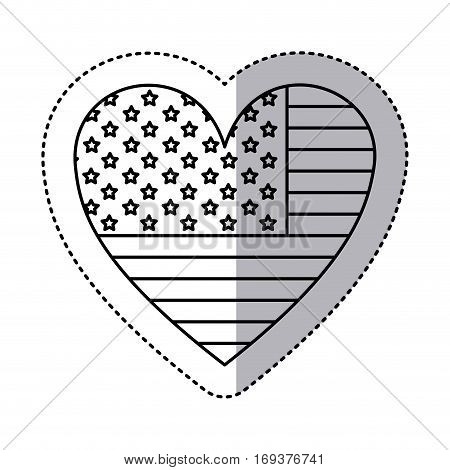 monochrome silhouette sticker with flag united states with heart shape vector illustration