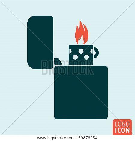 Lighter icon. Fire lighter symbol. Vector illustration