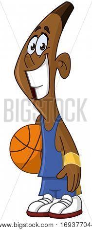 Happy black basketball player holding ball