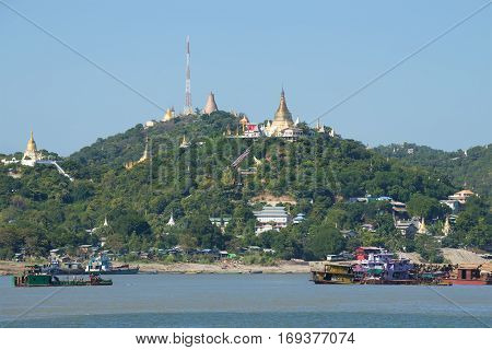 Sagaing Hills and Irrawaddy river. The surroundings of Mandalay sity. Myanmar