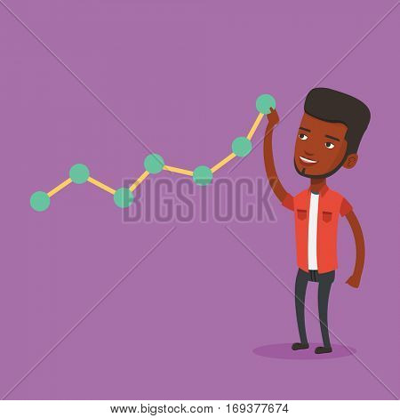 Young businessman looking at chart going up. Businessman lifting a business chart. An african-american businessman pulling up a business chart. Vector flat design illustration. Square layout.