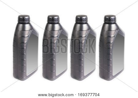 Plastic container for motor oil isolated on white background, 1 liter bottle canister
