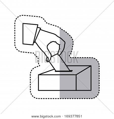 monochrome silhouette sticker with vote in hand and urn vector illustration