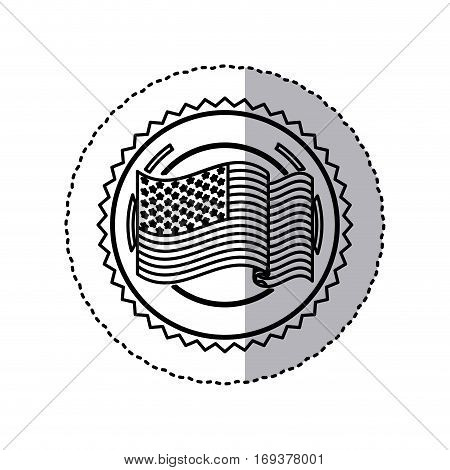 monochrome silhouette sticker with united states flag in round frame vector illustration