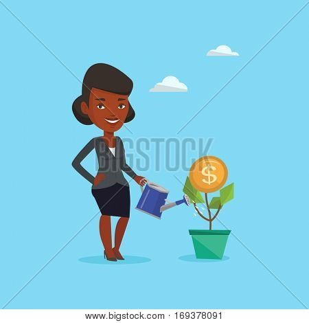 Business woman watering money flower. An african woman investing in business project. Illustration of investment money in business. Investment concept. Vector flat design illustration. Square layout.