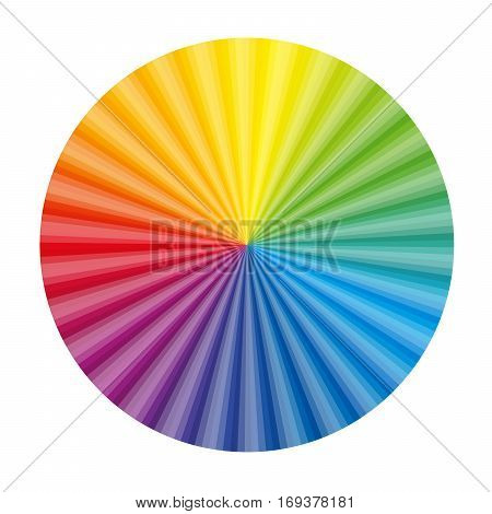 Circular color gradient fan chart - isolated vector illustration on white background.