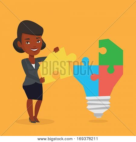 An african-american business woman completing light bulb made of puzzle. Business woman inserts the missing puzzle in light bulb. Business idea concept. Vector flat design illustration. Square layout.