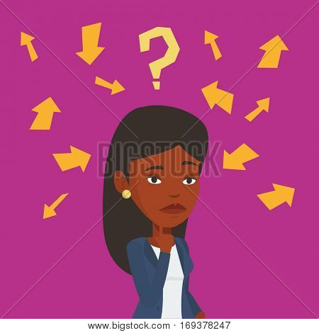 An african-american business woman thinking under question mark and arrows. Thoughtful business woman with question mark. Business thinking concept. Vector flat design illustration. Square layout.