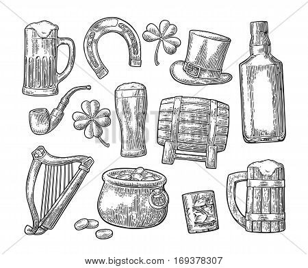 Saint Patrick s Day. Top gentleman hat, Pot of gold coins, whiskey, smoking pipe, beer glass, lyre, horseshoe, clover, barrel. Vector vintage engraved illustration. Isolated on white background.