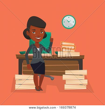 An african-american business woman standing in office and pointing at time on clock. Business woman working against time. Time management concept. Vector flat design illustration. Square layout.