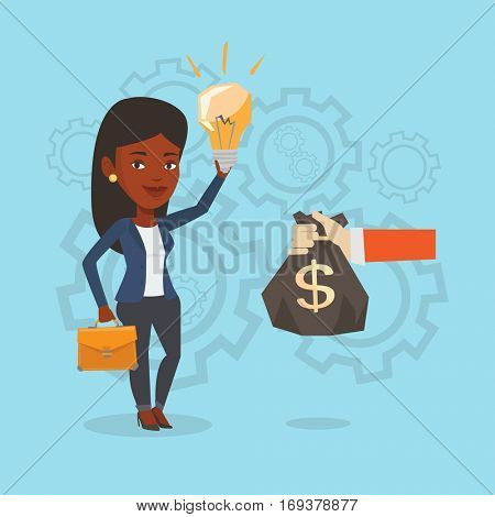 An african-american successful african-american business woman exchanging her business idea light bulb to money bag. Concept of successful business idea. Vector flat design illustration. Square layout