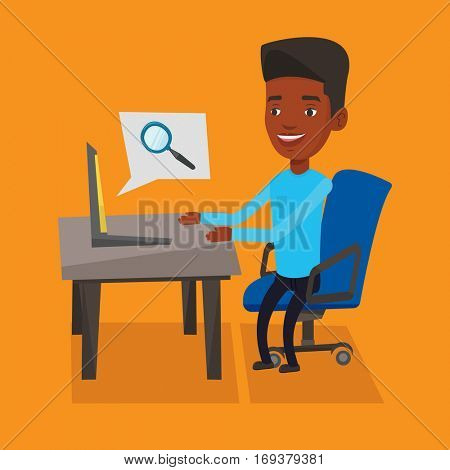 Young african-american young businessman working on his laptop in office and searching information on internet. Internet search and job search concept. Vector flat design illustration. Square layout.