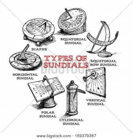 Vector hand drawn set of different sundial. Types of dial: equatorial bow (spherical) vertical cylindrical polar horizontal sundials and scaphe.