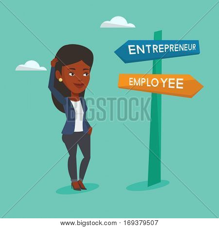 An african woman standing at road sign with two career ways - entrepreneur and employee. Woman choosing career way. Woman making a decision of career. Vector flat design illustration. Square layout