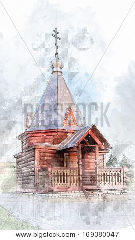 Architectural sketch wooden chapel Florus and Laurus over the source. Vatutine village, Udomlya District, Tver region, Russia