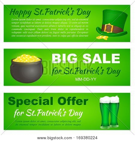 Saint Patricks Day banners with Leprechaun hat, pot and beer for greeting card, ad, promotion, poster, flier, blog, article, web page, header, billboard or marketing isolated on white background. Simple cartoon style. Vector illustration. Holiday Collecti