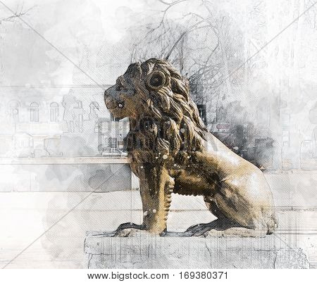 Architectural sketch Lion Sculpture in a city park. City Vishny Volochek, Russia.