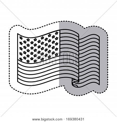 monochrome silhouette sticker with united states flag vector illustration