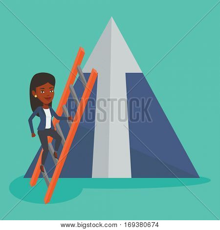 African businesswoman climbing the ladder. Businesswoman climbing on mountain with arrow going up. Businesswoman climbing upward on the top of mountain. Vector flat design illustration. Square layout.