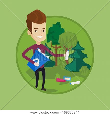 Man collecting garbage in recycle bin. Man with recycling bin in hand picking up used plastic bottles. Waste recycling concept. Vector flat design illustration in the circle isolated on background.