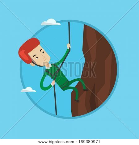 Caucasian climber in action. Rock climber in protective helmet climbing on a rock. Smiling man climbing on mountain with rope. Vector flat design illustration in the circle isolated on background.