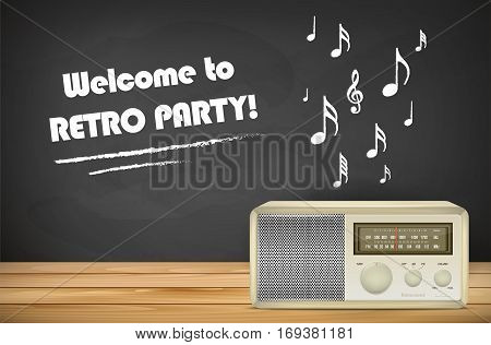 Retro radio on wooden tabletop chalkboard with music signs and place for your message. Vector illustration.