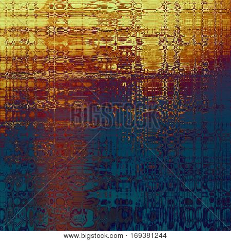 Aged background or texture. Vintage graphic composition with grunge style elements and different color patterns: yellow (beige); blue; red (orange); purple (violet); pink