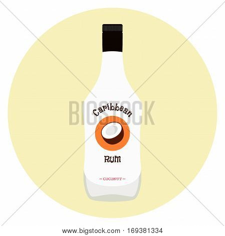 Caribbean rum with coconut flavour in white bottle for alcohol. Alcohol drink in flat vector style.
