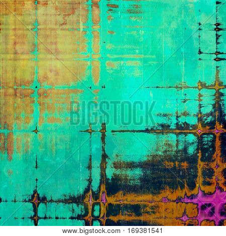 Abstract colorful background or backdrop with grunge texture and different color patterns: yellow (beige); brown; green; blue; purple (violet); black