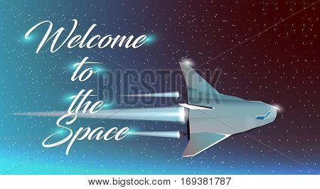 Vector web illustration Space tourism. Spaceship. The rocket ship flying in the space. Spaceship background. Projects template for business. poster, abstract vector illustration.