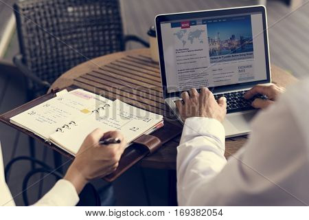 Businesspeople Men Women Write Note Notebook Plan