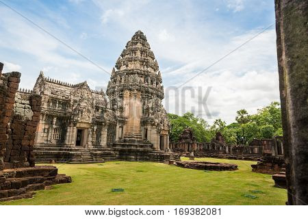 View of the historic Prasat Hin Phimai Castle at Nakhon Ratchasima Province Thailand. The Khmer Castle were built during the Angkor period and marked the northern reaches of the realm.