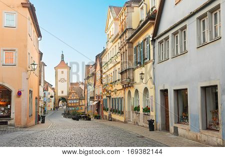 old street, Plonlein and city tower of Rothenburg ob der Tauber, Germany